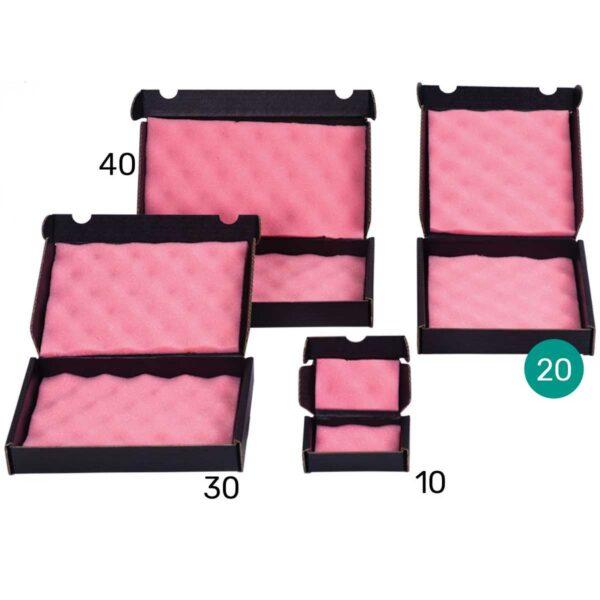 קופסאות קרטון שחור מוליך עם ספוג אנטי סטטי 200X200X40 מ״מ