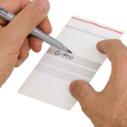שקיות פס-סגר עם פס לכתיבה - קרטון 1000 שקיות