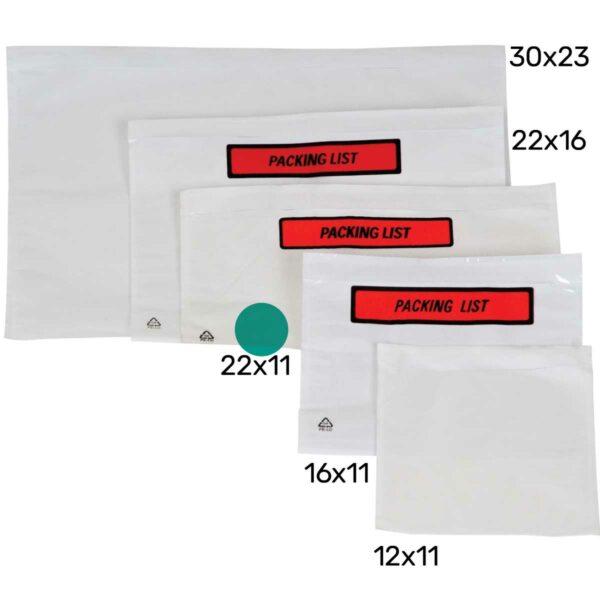 מעטפות פקינג ליסט Packing List מודפס 22X11 ס״מ - 1000 מעטפות
