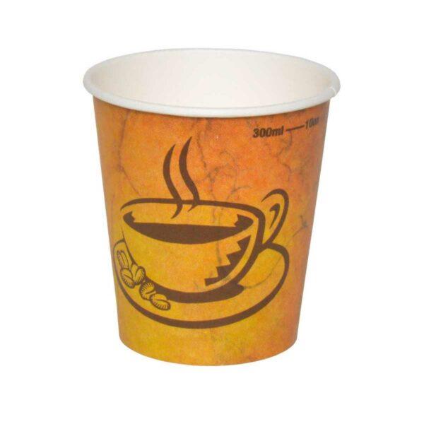 כוסות נייר לשתיה חמה 300 מ״ל - סדרת Café Marble - קפה גרניט / מרבל