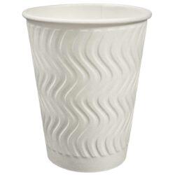 כוסות נייר TBC - הכוס הטובה בעולם - כוס מבודדת 12oz, לבן - 1000 כוסות בקרטון