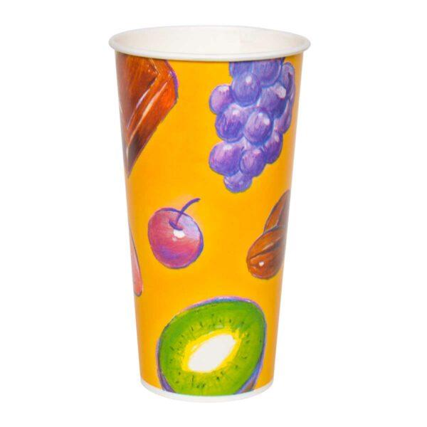 כוסות נייר לשתיה קרה 630 מ״ל סדרת פירות