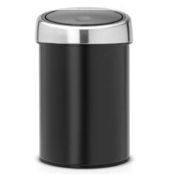 פח טאץ 3 ליטר שחור, כולל תליה Brabantia לשירותים במשרד