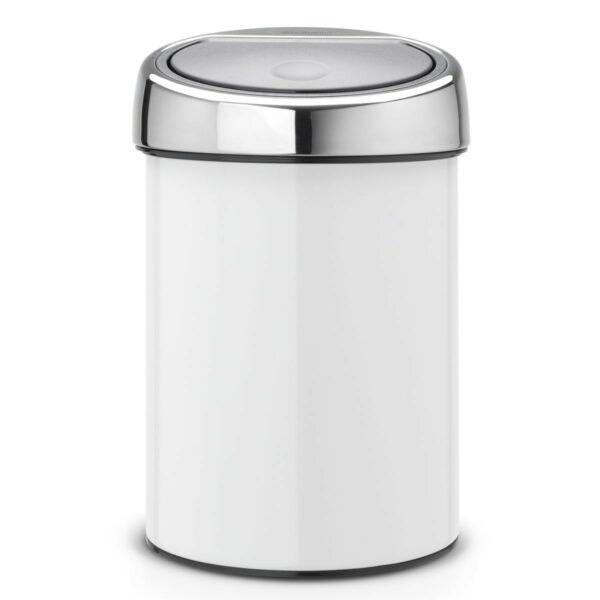 פח טאץ 3 ליטר לבן, כולל תליה Brabantia לשירותים במשרד