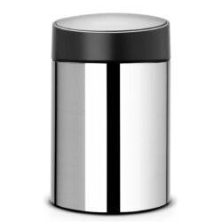 פח אשפה סלייד 5 ליטר מבריק מכסה שחור כולל תליה Brabantia לשירותים במשרד