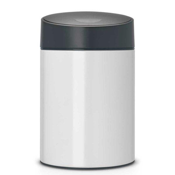 פח אשפה סלייד 5 ליטר לבן, מכסה שחור כולל תליה Brabantia לשירותים במשרד