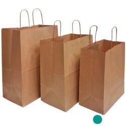 שקית נייר עם ידיות למשלוחי מזון, קראפט חום 28X30+15 - C1 ס״מ