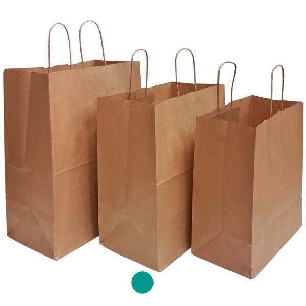 שקית נייר עם ידיות למשלוחי מזון, קראפט חום 31X34+18 - D1 ס״מ