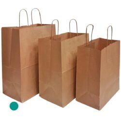שקית נייר עם ידיות למשלוחי מזון, קרפט חום 31X39+18 - D2 ס״מ